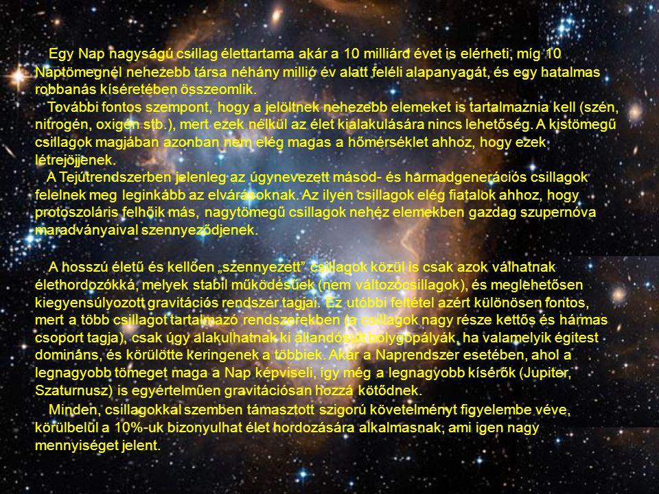 Egy Nap nagyságú csillag élettartama akár a 10 milliárd évet is elérheti, míg 10 Naptömegnél nehezebb társa néhány millió év alatt feléli alapanyagát, és egy hatalmas robbanás kíséretében összeomlik.