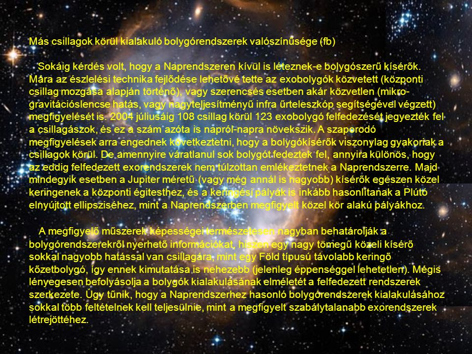 Más csillagok körül kialakuló bolygórendszerek valószínűsége (fb)