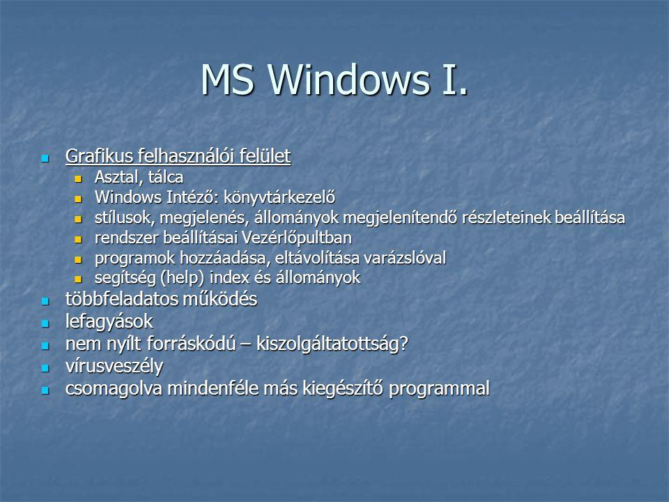 MS Windows I. Grafikus felhasználói felület többfeladatos működés