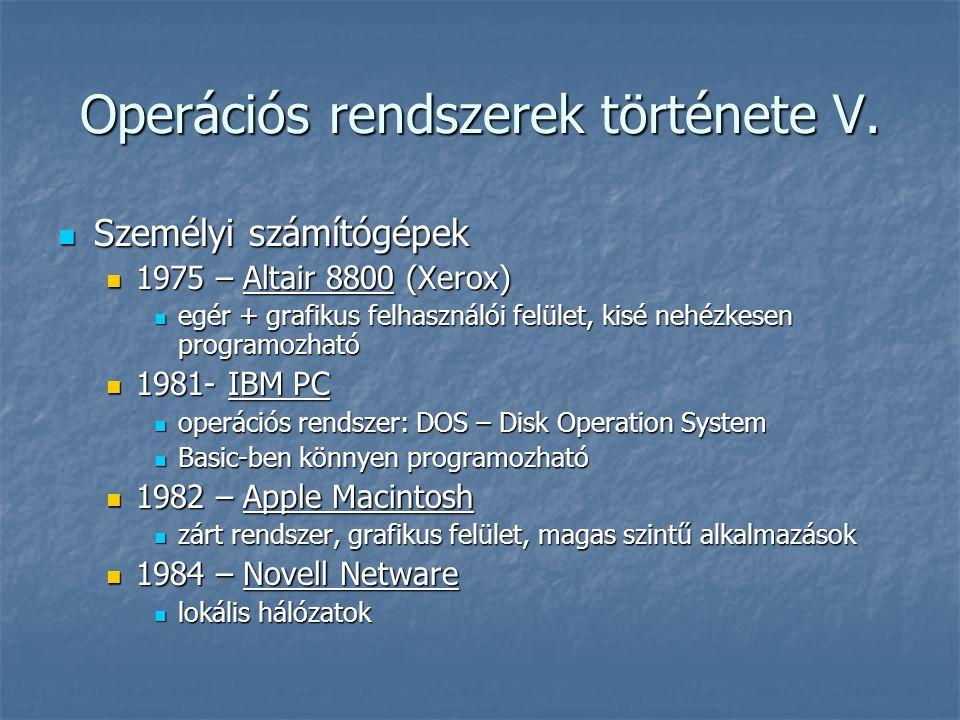 Operációs rendszerek története V.