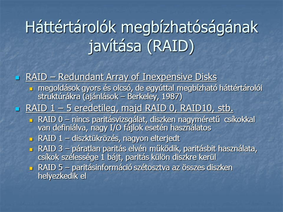 Háttértárolók megbízhatóságának javítása (RAID)