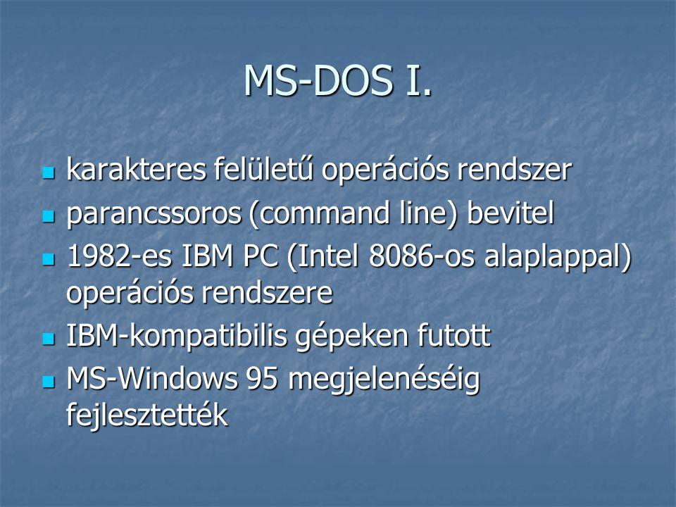 MS-DOS I. karakteres felületű operációs rendszer