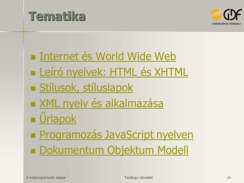 Tematika Internet és World Wide Web Leíró nyelvek: HTML és XHTML