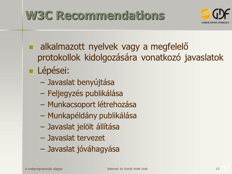 W3C Recommendations alkalmazott nyelvek vagy a megfelelő protokollok kidolgozására vonatkozó javaslatok.