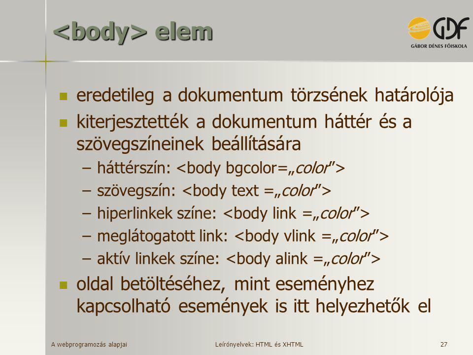 <body> elem eredetileg a dokumentum törzsének határolója