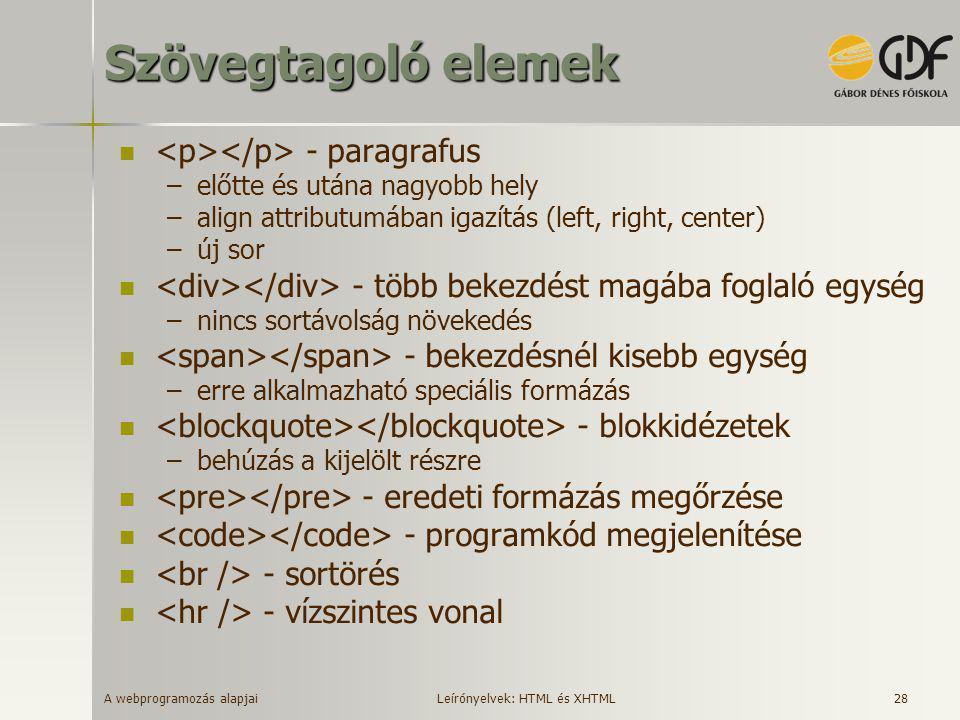 Szövegtagoló elemek <p></p> - paragrafus