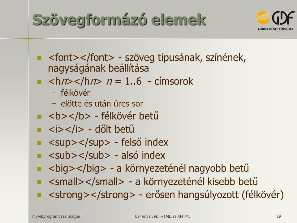 Szövegformázó elemek <font></font> - szöveg típusának, színének, nagyságának beállítása. <hn></hn> n = 1..6 - címsorok.