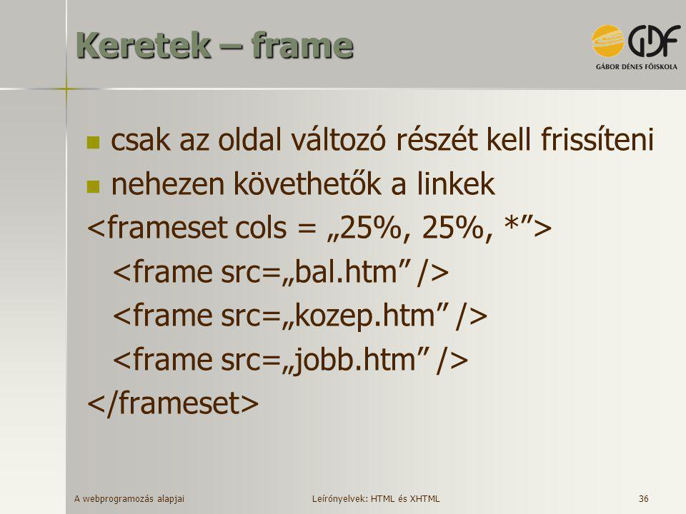 Keretek – frame csak az oldal változó részét kell frissíteni