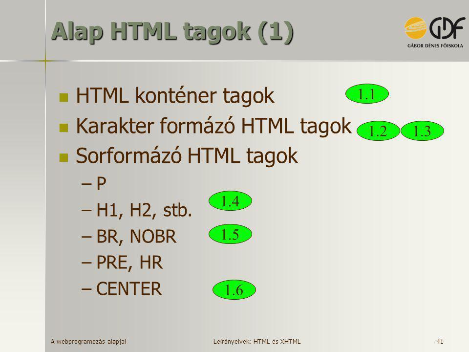 Alap HTML tagok (1) HTML konténer tagok Karakter formázó HTML tagok
