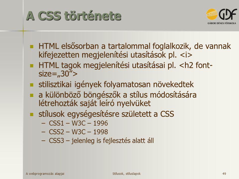 A CSS története HTML elsősorban a tartalommal foglalkozik, de vannak kifejezetten megjelenítési utasítások pl. <i>