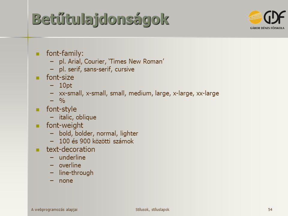 Betűtulajdonságok font-family: font-size font-style font-weight
