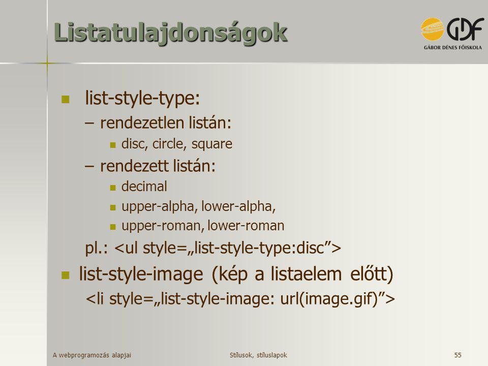 Listatulajdonságok list-style-type: