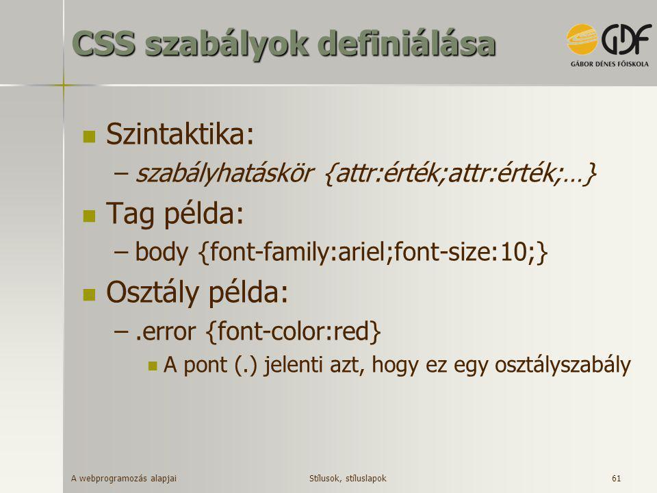 CSS szabályok definiálása
