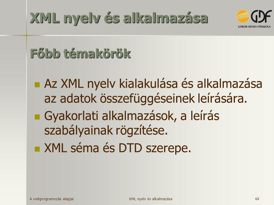 XML nyelv és alkalmazása