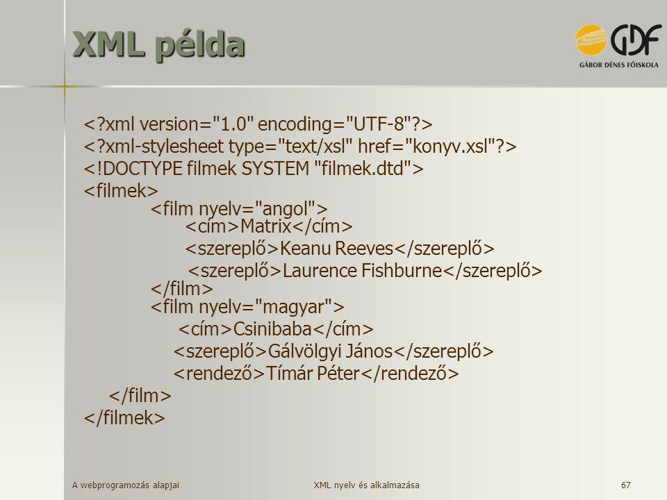 XML példa < xml version= 1.0 encoding= UTF-8 >