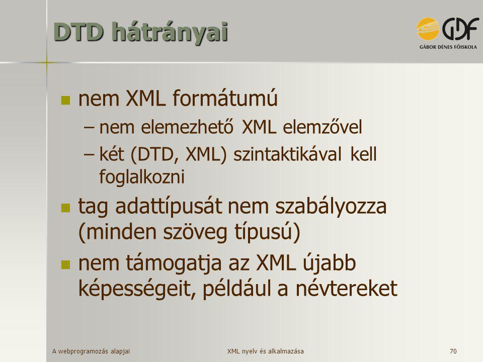 DTD hátrányai nem XML formátumú