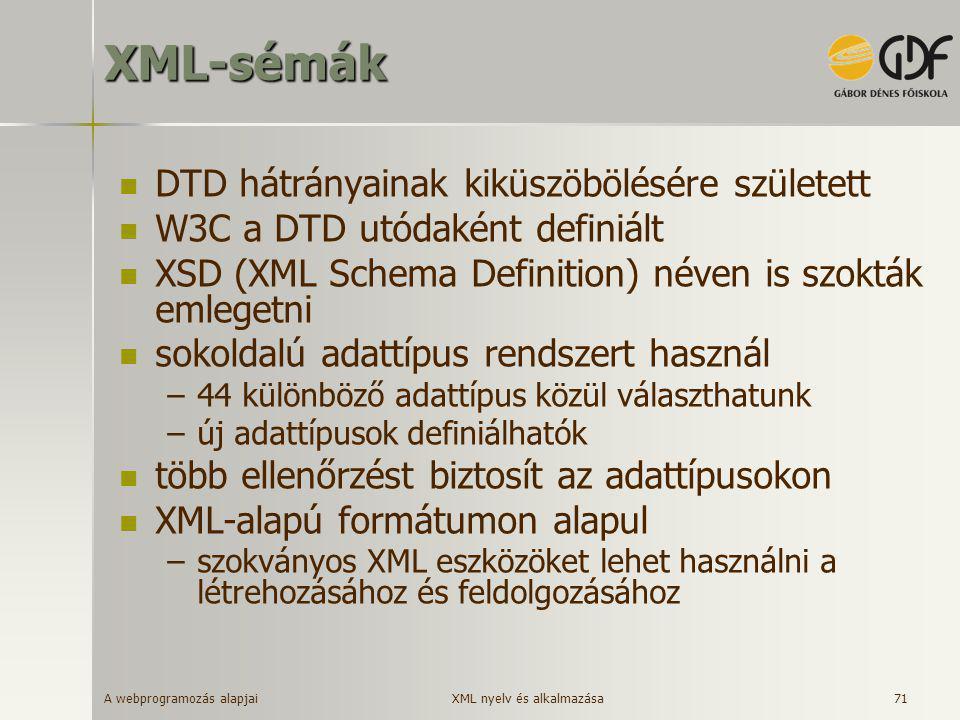 XML-sémák DTD hátrányainak kiküszöbölésére született