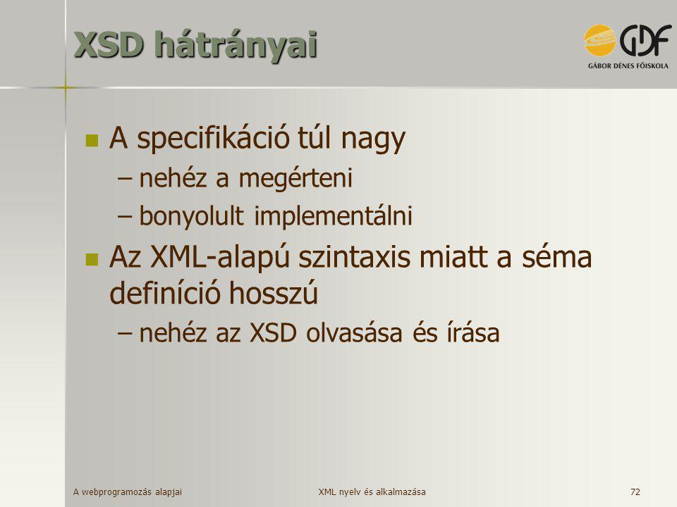 XSD hátrányai A specifikáció túl nagy