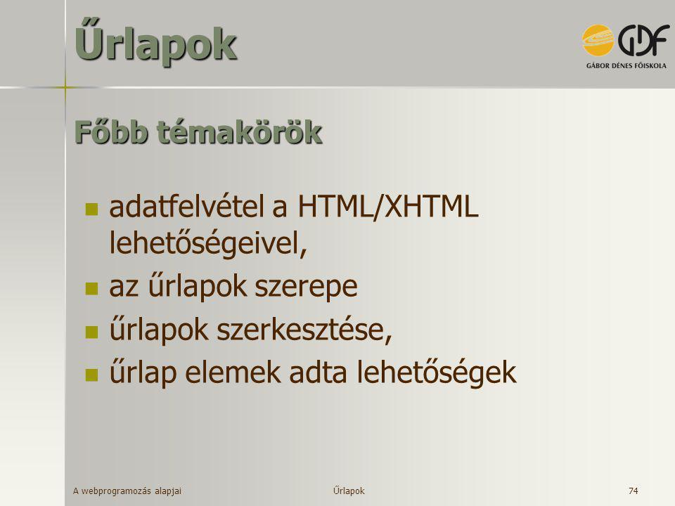 Űrlapok Főbb témakörök adatfelvétel a HTML/XHTML lehetőségeivel,