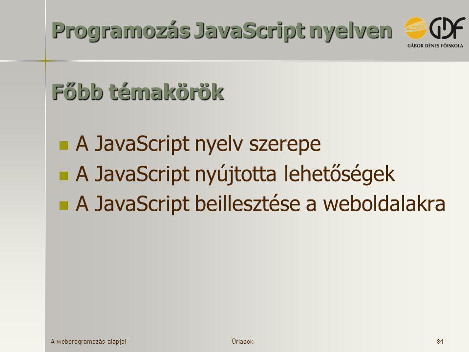 Programozás JavaScript nyelven