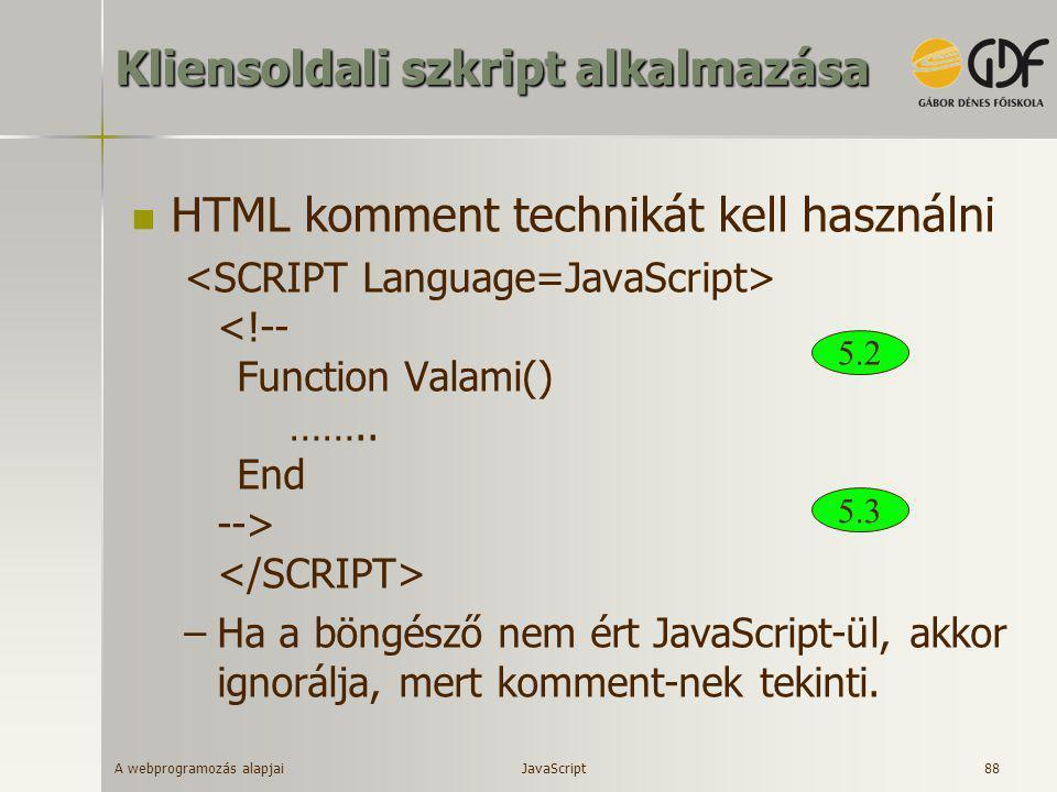Kliensoldali szkript alkalmazása