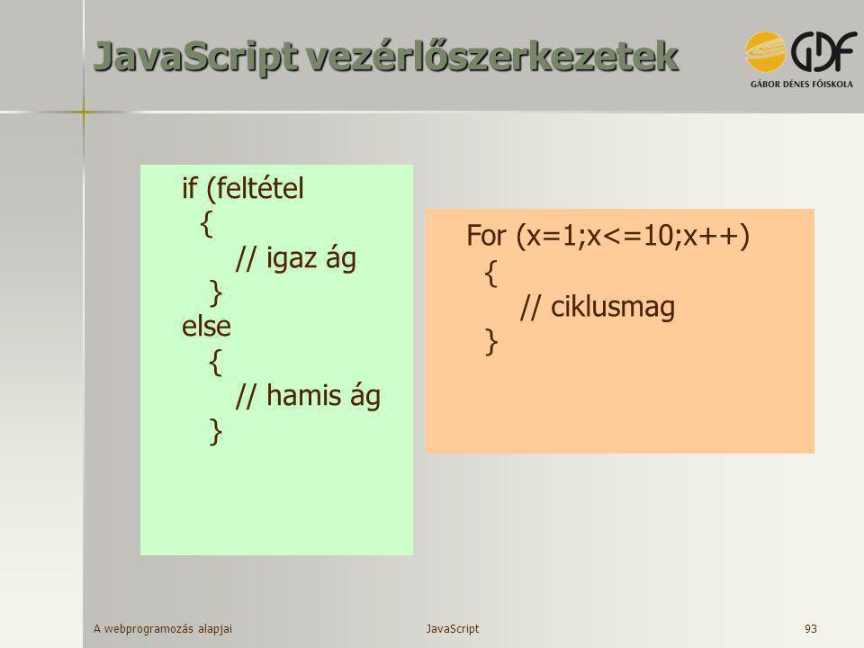 JavaScript vezérlőszerkezetek