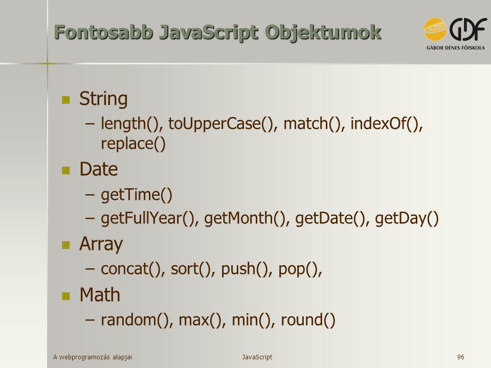Fontosabb JavaScript Objektumok