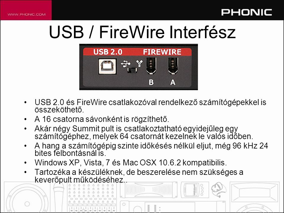 USB / FireWire Interfész