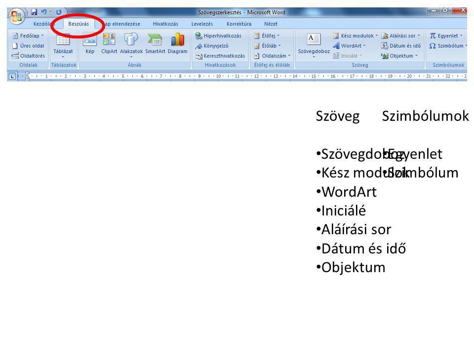 Szöveg Szövegdoboz. Kész modulok. WordArt. Iniciálé. Aláírási sor. Dátum és idő. Objektum. Szimbólumok.