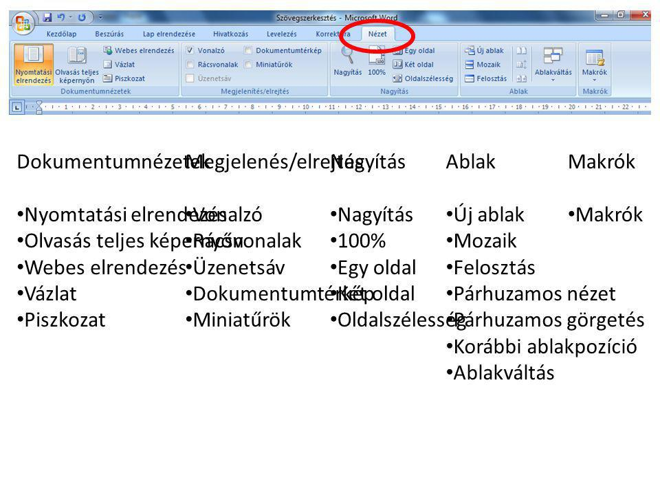 Dokumentumnézetek Nyomtatási elrendezés. Olvasás teljes képernyőn. Webes elrendezés. Vázlat. Piszkozat.
