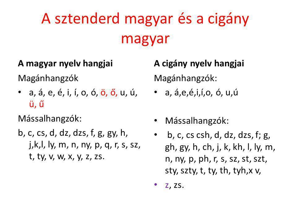 A sztenderd magyar és a cigány magyar