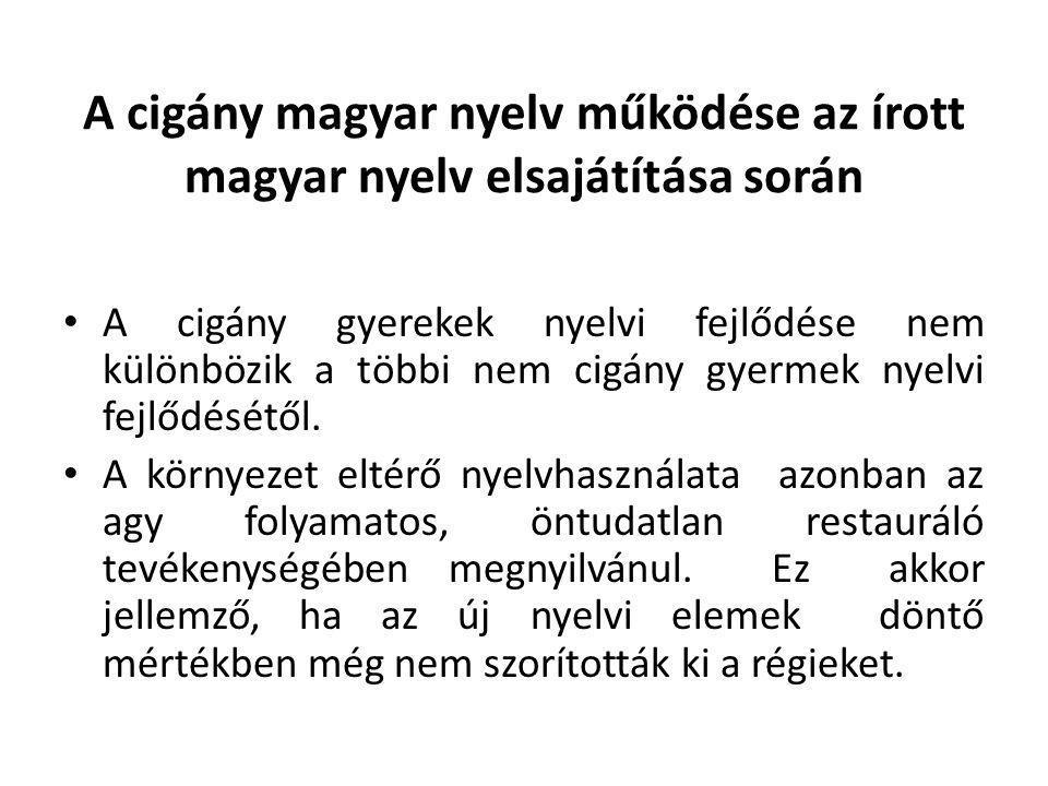 A cigány magyar nyelv működése az írott magyar nyelv elsajátítása során