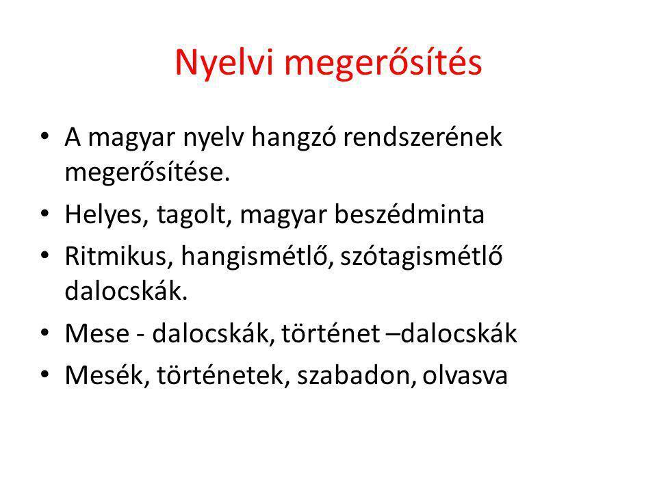 Nyelvi megerősítés A magyar nyelv hangzó rendszerének megerősítése.