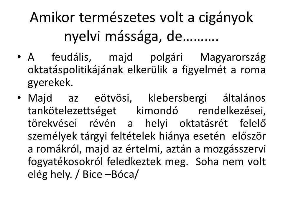 Amikor természetes volt a cigányok nyelvi mássága, de……….