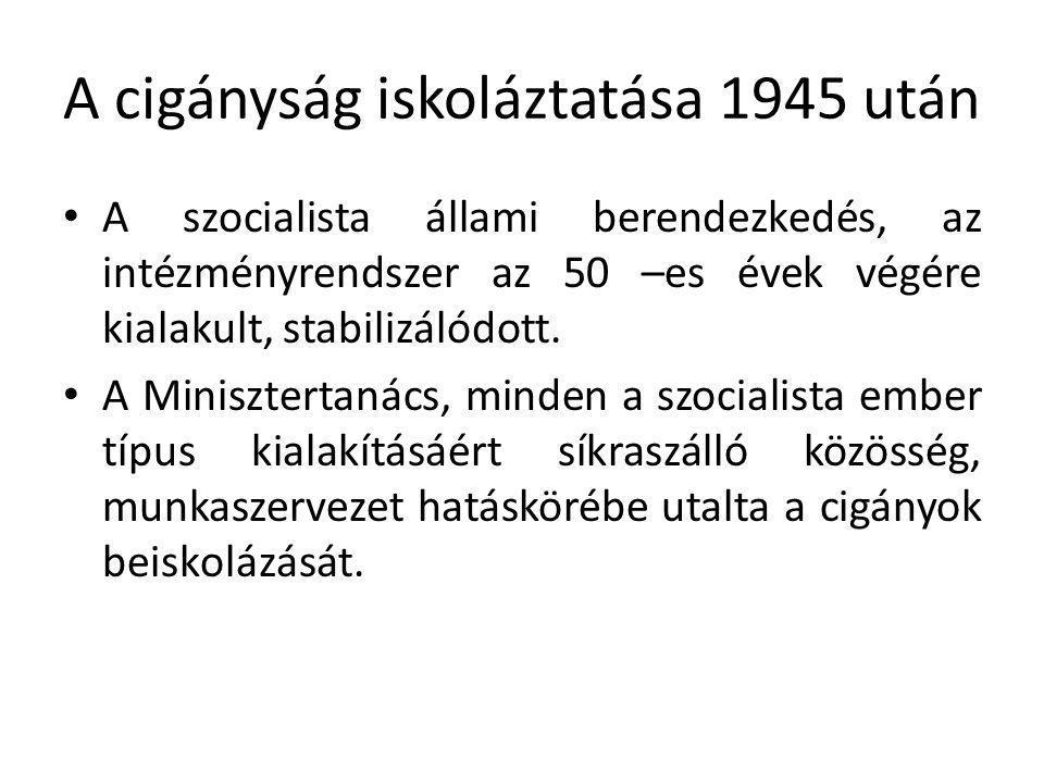 A cigányság iskoláztatása 1945 után