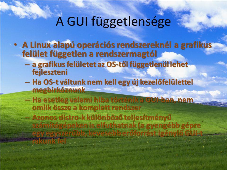 A GUI függetlensége A Linux alapú operációs rendszereknél a grafikus felület független a rendszermagtól.
