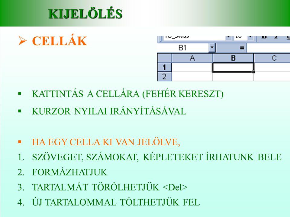 KIJELÖLÉS CELLÁK KATTINTÁS A CELLÁRA (FEHÉR KERESZT)
