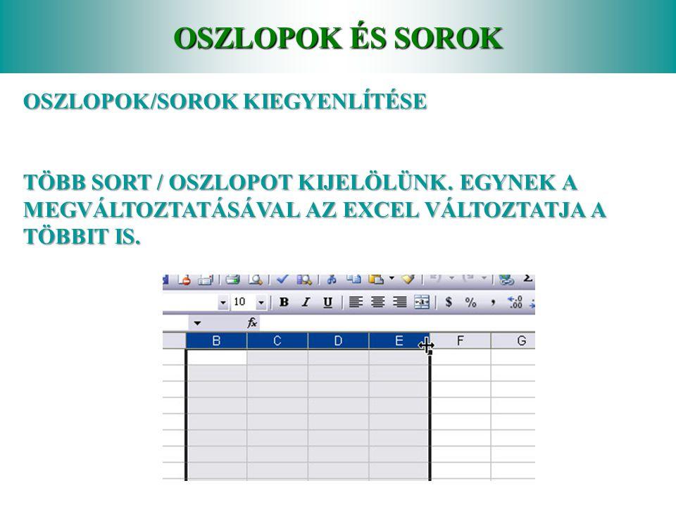 OSZLOPOK ÉS SOROK OSZLOPOK/SOROK KIEGYENLÍTÉSE