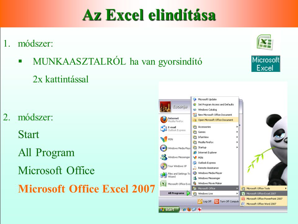 Az Excel elindítása Start All Program Microsoft Office