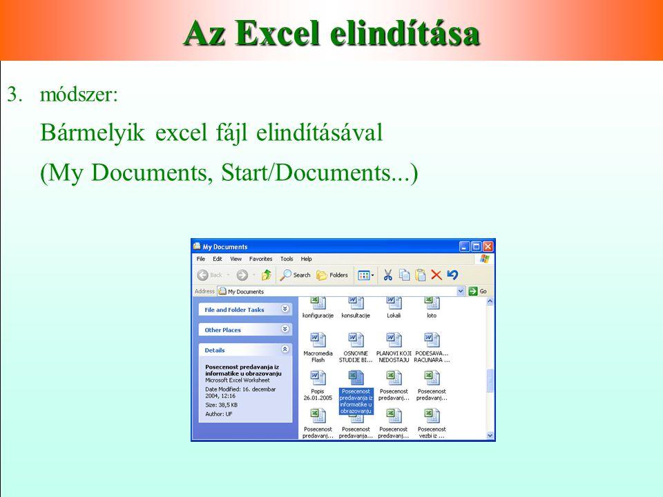 Az Excel elindítása Bármelyik excel fájl elindításával