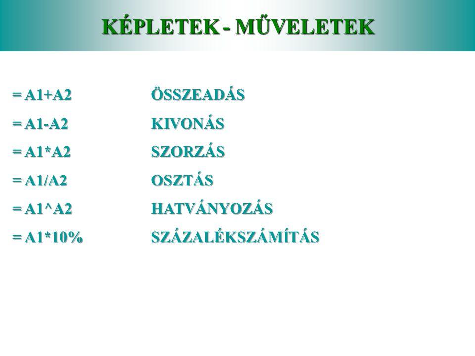 KÉPLETEK - MŰVELETEK = A1+A2 ÖSSZEADÁS = A1-A2 KIVONÁS = A1*A2 SZORZÁS