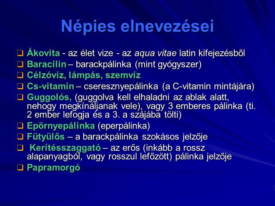 Népies elnevezései Ákovita - az élet vize - az aqua vitae latin kifejezésből. Baracilin – barackpálinka (mint gyógyszer)