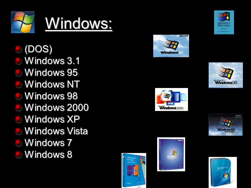 Windows: (DOS) Windows 3.1 Windows 95 Windows NT Windows 98