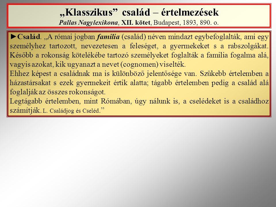 """""""Klasszikus család – értelmezések Pallas Nagylexikona, XII"""
