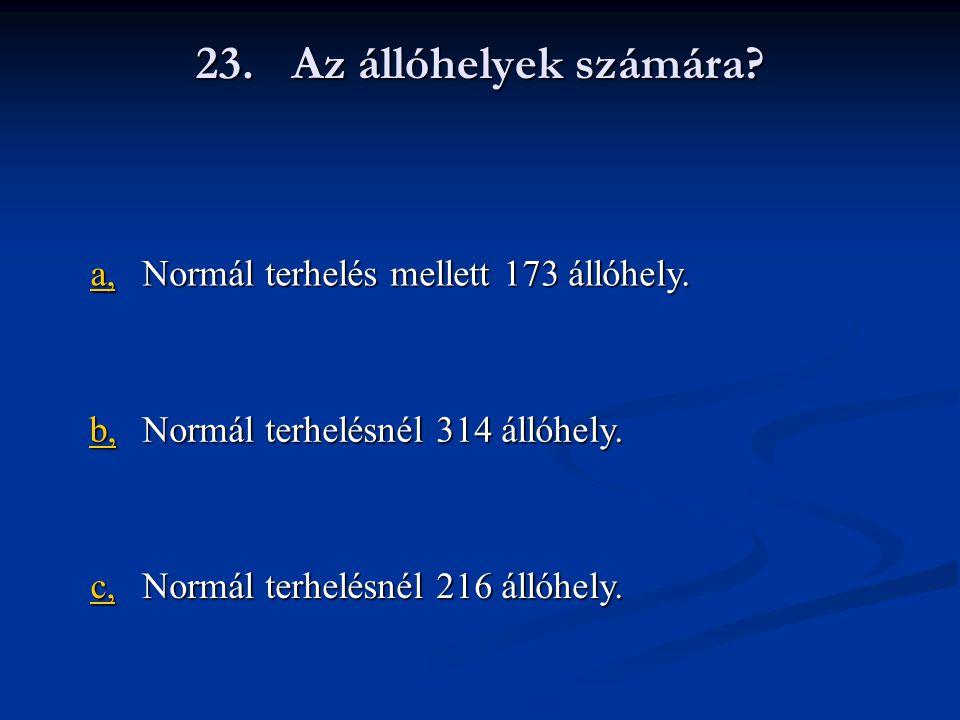 23. Az állóhelyek számára a, Normál terhelés mellett 173 állóhely. b,