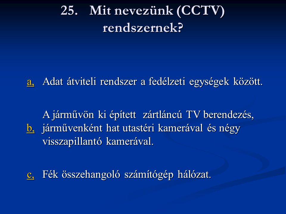 25. Mit nevezünk (CCTV) rendszernek