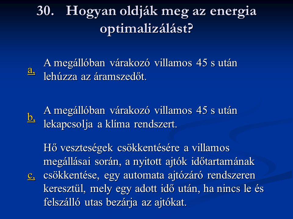 30. Hogyan oldják meg az energia optimalizálást