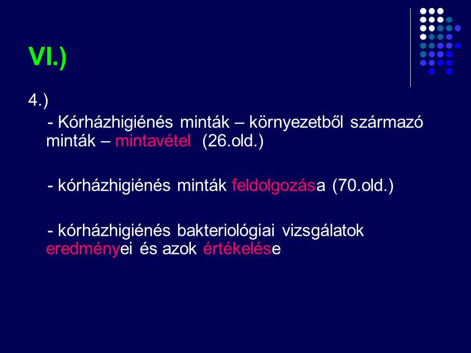 VI.) 4.) - Kórházhigiénés minták – környezetből származó minták – mintavétel (26.old.) - kórházhigiénés minták feldolgozása (70.old.)