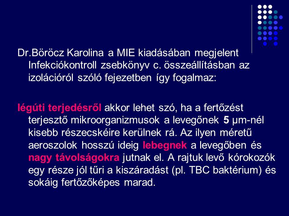Dr.Böröcz Karolina a MIE kiadásában megjelent Infekciókontroll zsebkönyv c. összeállításban az izolációról szóló fejezetben így fogalmaz: