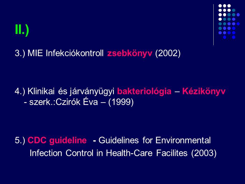 II.) 3.) MIE Infekciókontroll zsebkönyv (2002)